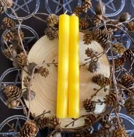 Dinner Candle Pair ~ 20cm Yellow
