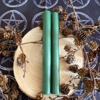 Dinner Candle Pair ~ 20cm Green