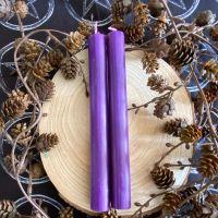 Dinner Candle Pair ~ 20cm Purple