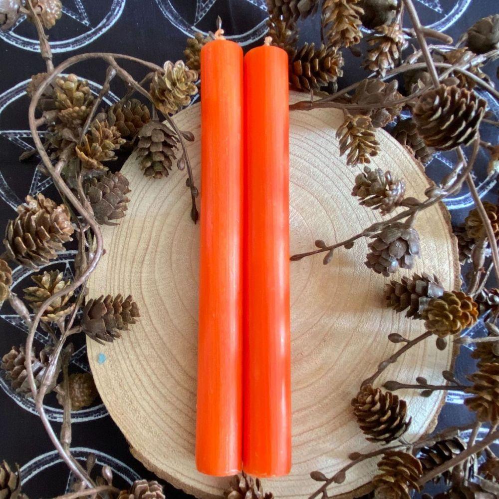 Dinner Candle Pair ~ 20cm Orange