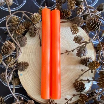 Dinner Candle Pair ~ 20cm Orange