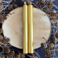 Dinner Candle Pair ~ 20cm Gold Metallic