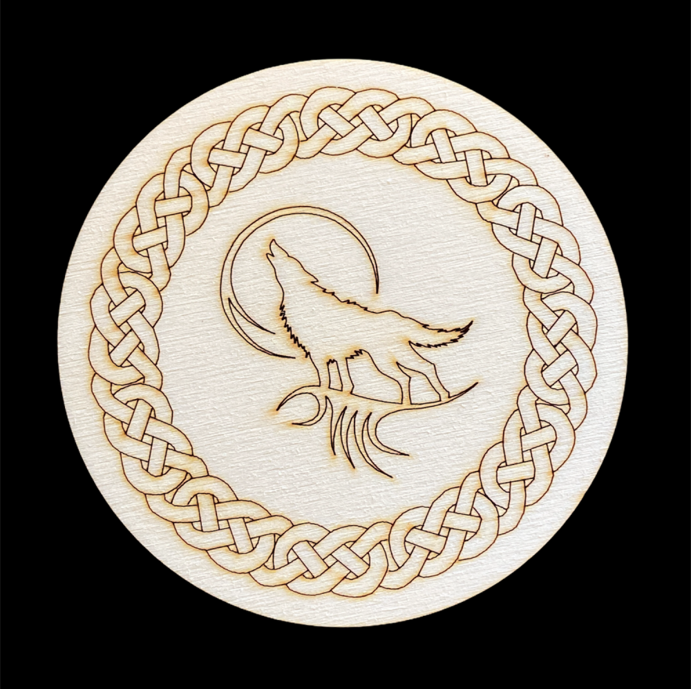 Howling Wolf Altar Tile with Celtic Knotwork Border