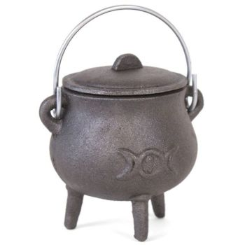 Pot Bellied Cast Iron Cauldron with Triple Moon