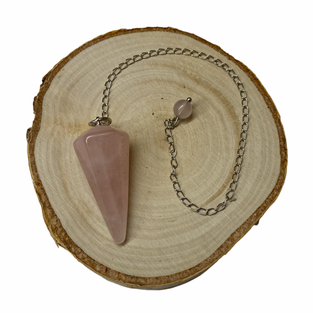 Rose Quartz Faceted Crystal Pendulum