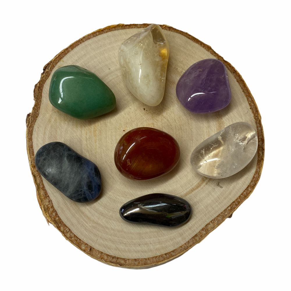 Chakra Set of Crystals with Card and Pouch