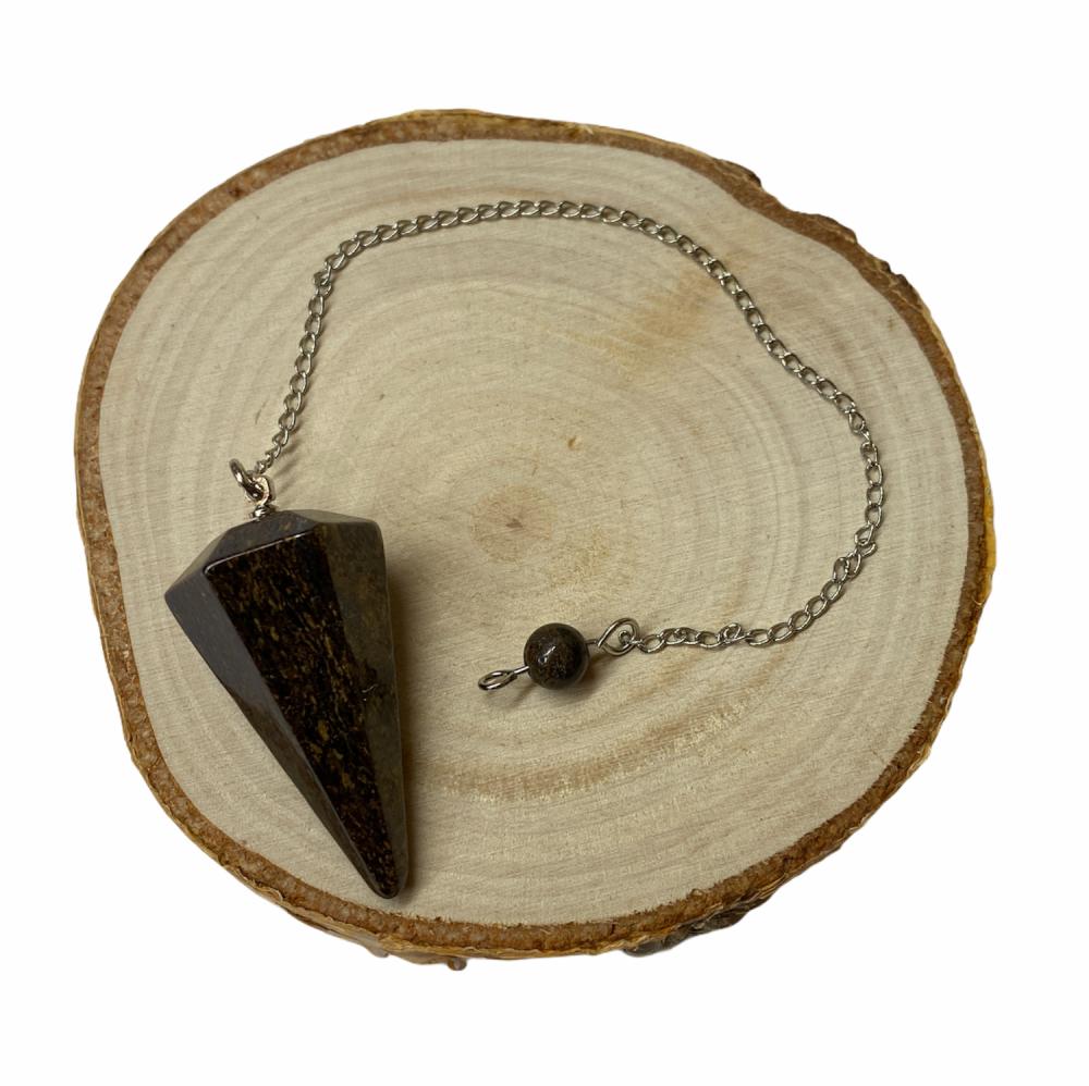 Bronzite Faceted Crystal Pendulum #336
