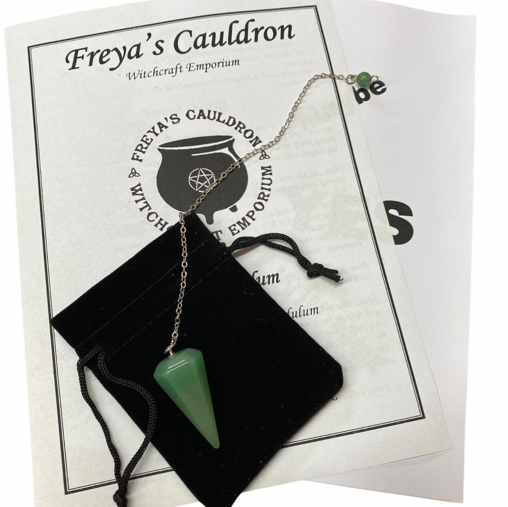 A Pendulum Starter Kit Incl Green Aventurine Pendulum and Instructions