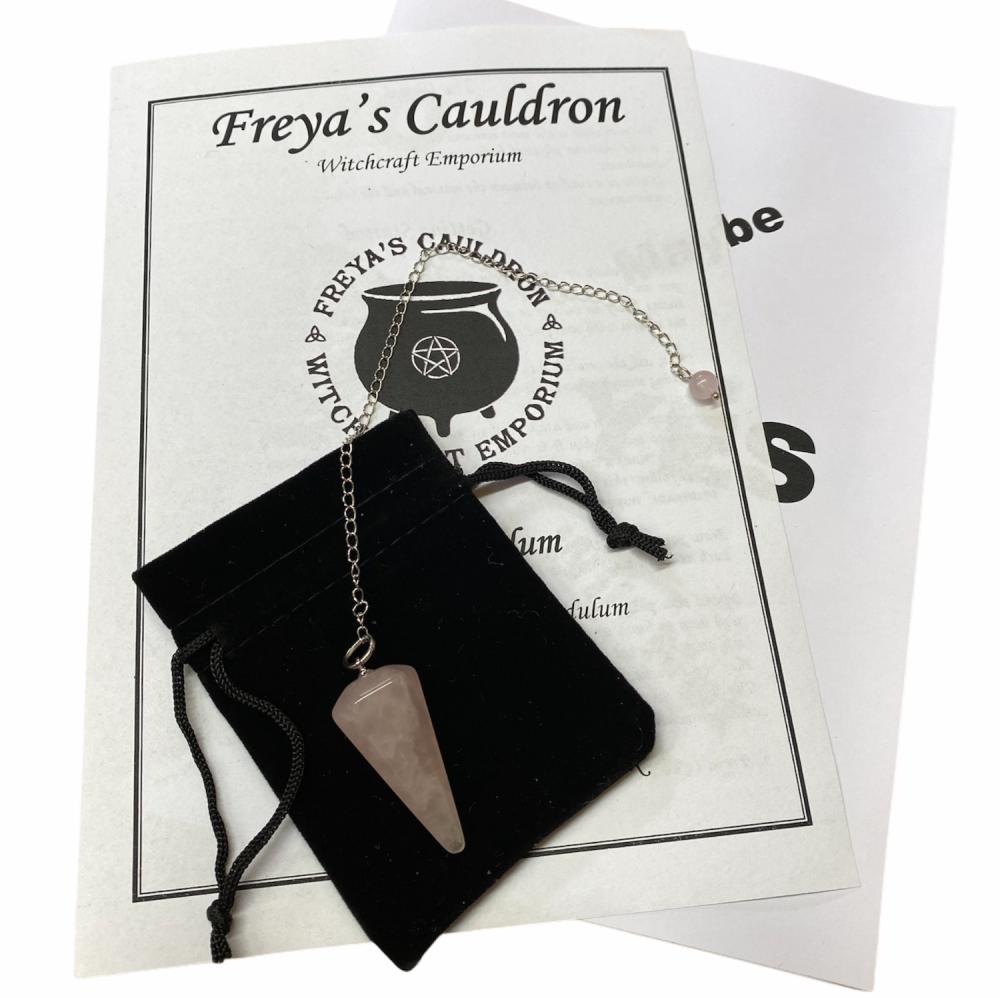 A Pendulum Starter Kit Incl Rose Quartz Pendulum and Instructions