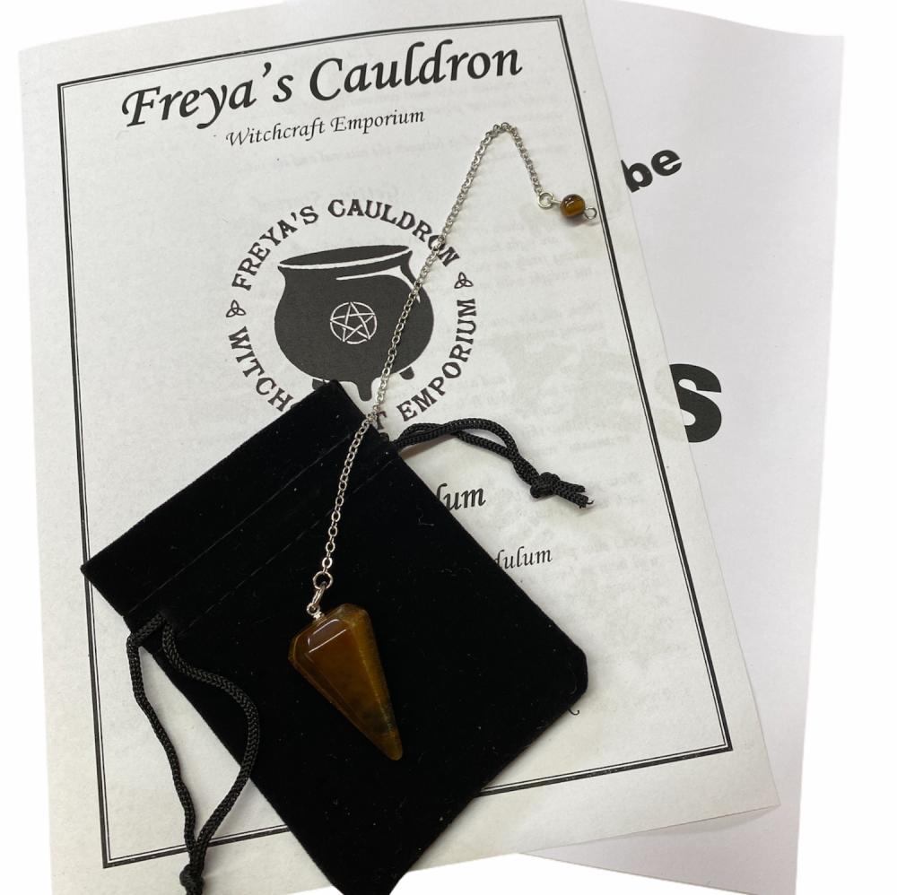 A Pendulum Starter Kit Incl Tigers Eye Pendulum and Instructions