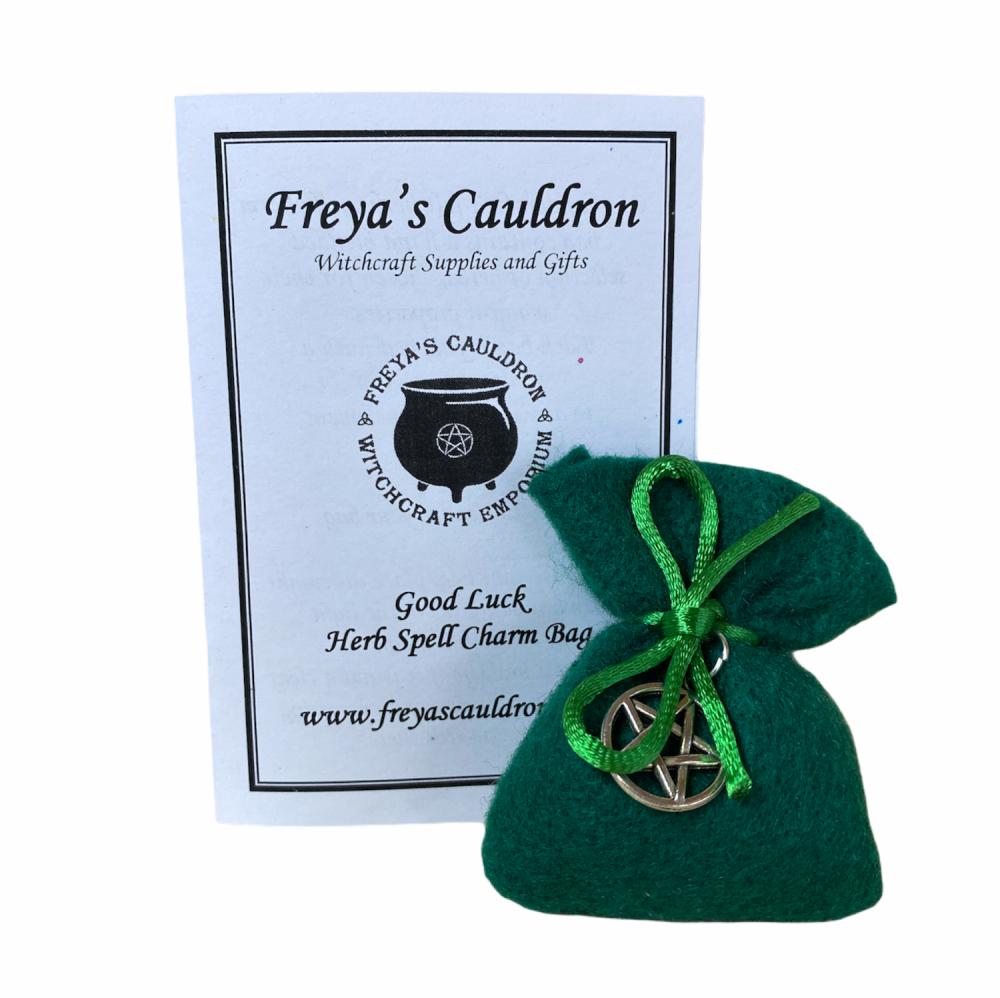 Herb Charm Bag ~ Good Luck ~ With Pentagram Charm