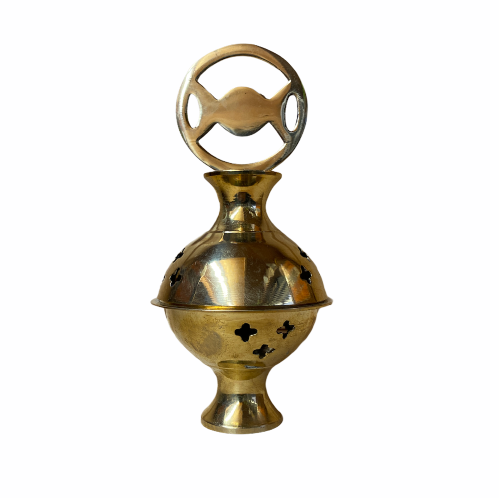 Brass Incense Cone Burner with Triple Moon and box of Incense Cones