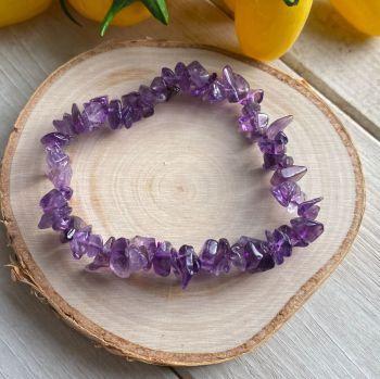 Amethyst Crystal Chip Bracelet