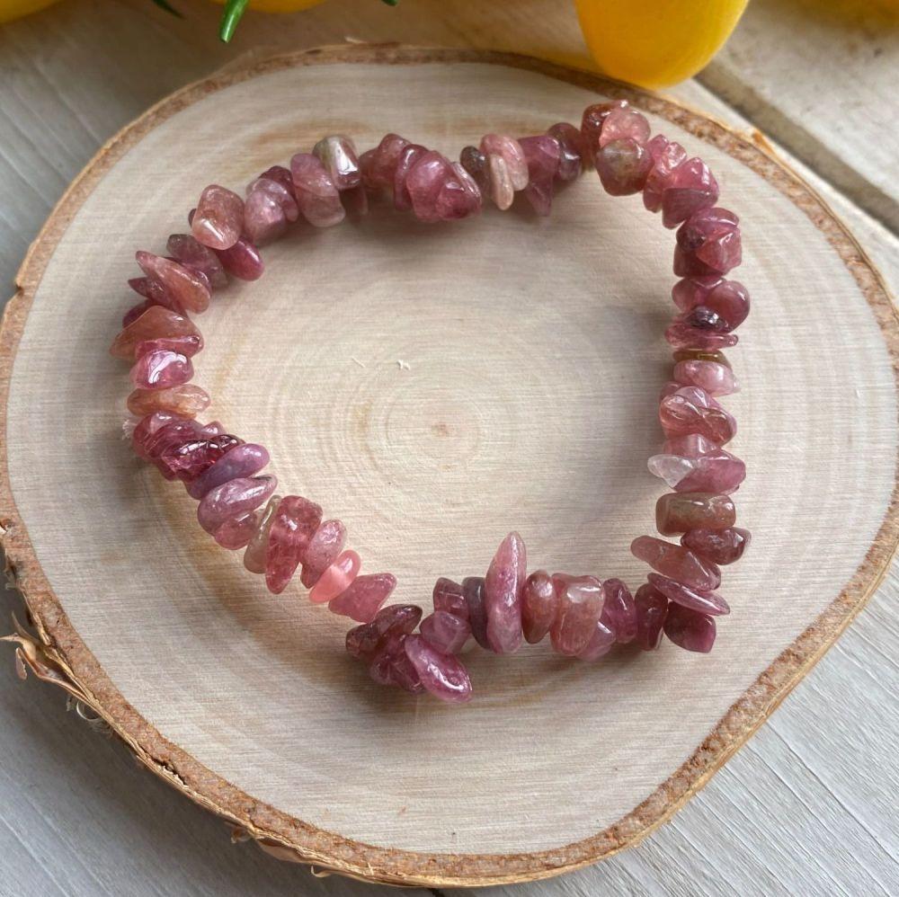 Red Tourmaline/  Rubellite Crystal Chip Bracelet