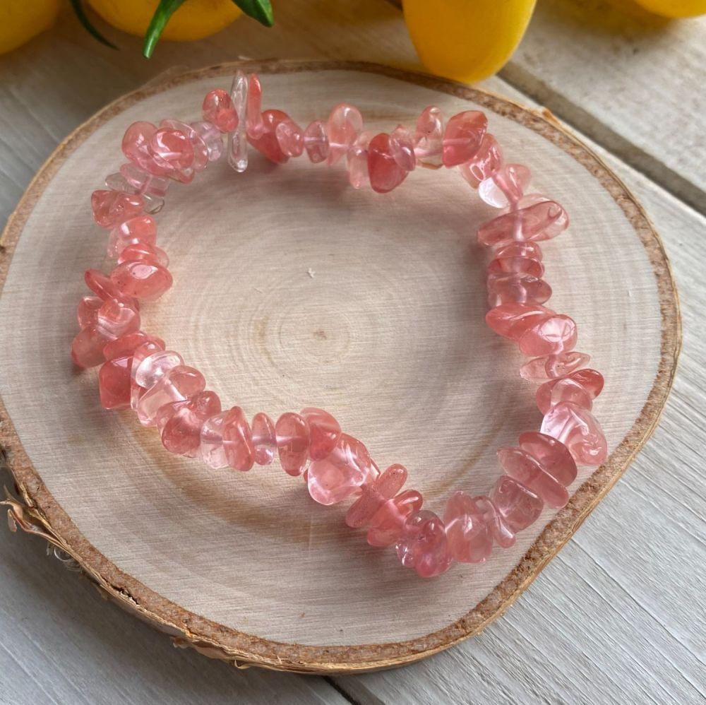 Cherry Quartz Crystal Chip Bracelet