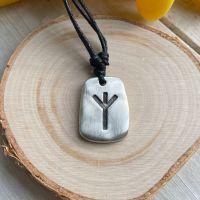 Algiz Rune Pewter Pendant with Black Cord Necklace