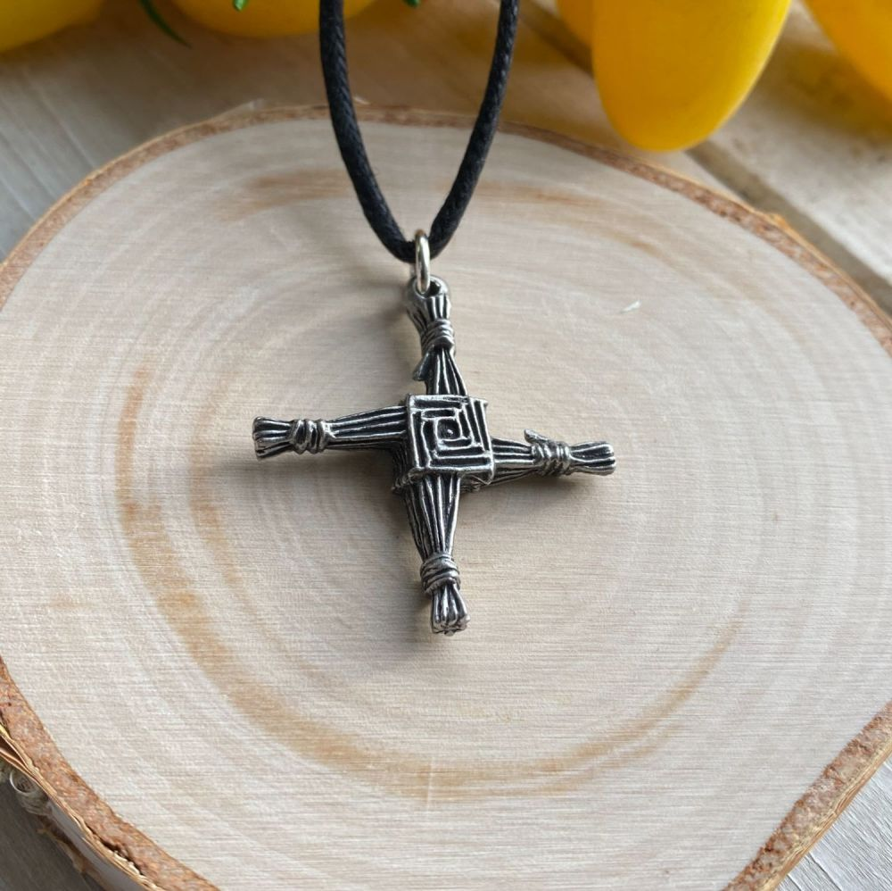 St Bridget's Cross Pewter Pendant with Black Cord Necklace