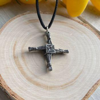 St Bridget's Cross Pewter Pendant with Black Cord Necklace