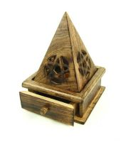 Wooden Pyramid Incense Cone Burner