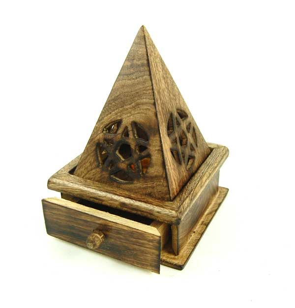Wooden Pyramid Incense Cone Burner with free cones