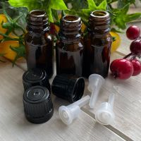10ml Glass Amber Bottles with Dropper Caps ~ Pack of 3