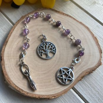 Amethyst Spell Beads with Pentagram, Goddess and Tree of Life Charms