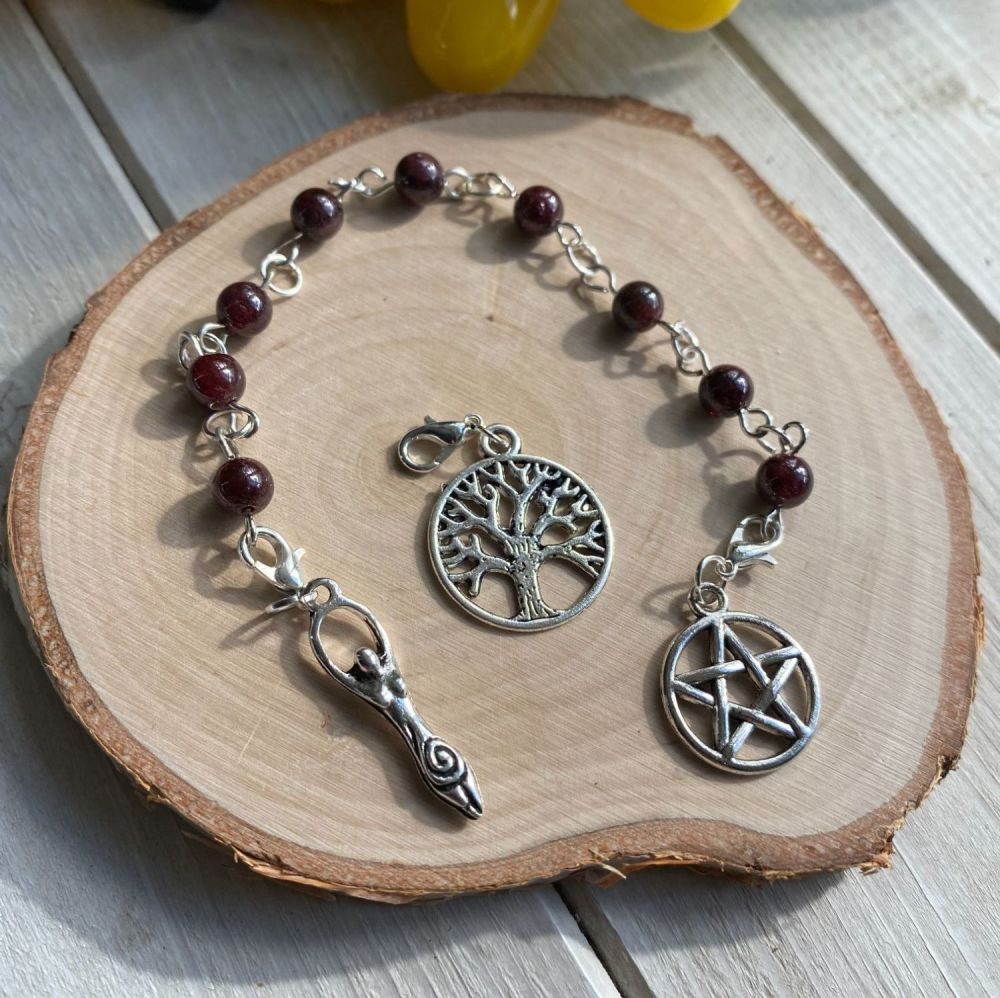 Garnet Prayer Beads with Pentagram, Goddess and Tree of Life Charms