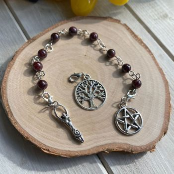 Garnet Spell Beads with Pentagram, Goddess and Tree of Life Charms