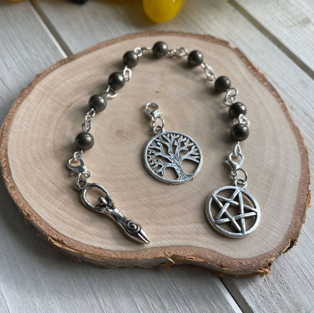 Pyrite Prayer Beads with Pentagram, Goddess and Tree of Life Charms
