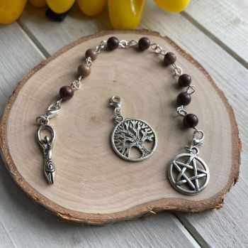 African Map Jasper Spell Beads with Pentagram, Goddess and Tree of Life Charms