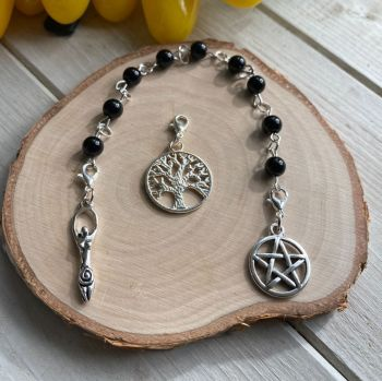 Black Onyx Spell Beads with Pentagram, Goddess and Tree of Life Charms
