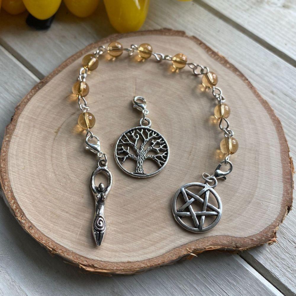 Citrine Prayer Beads with Pentagram, Goddess and Tree of Life Charms
