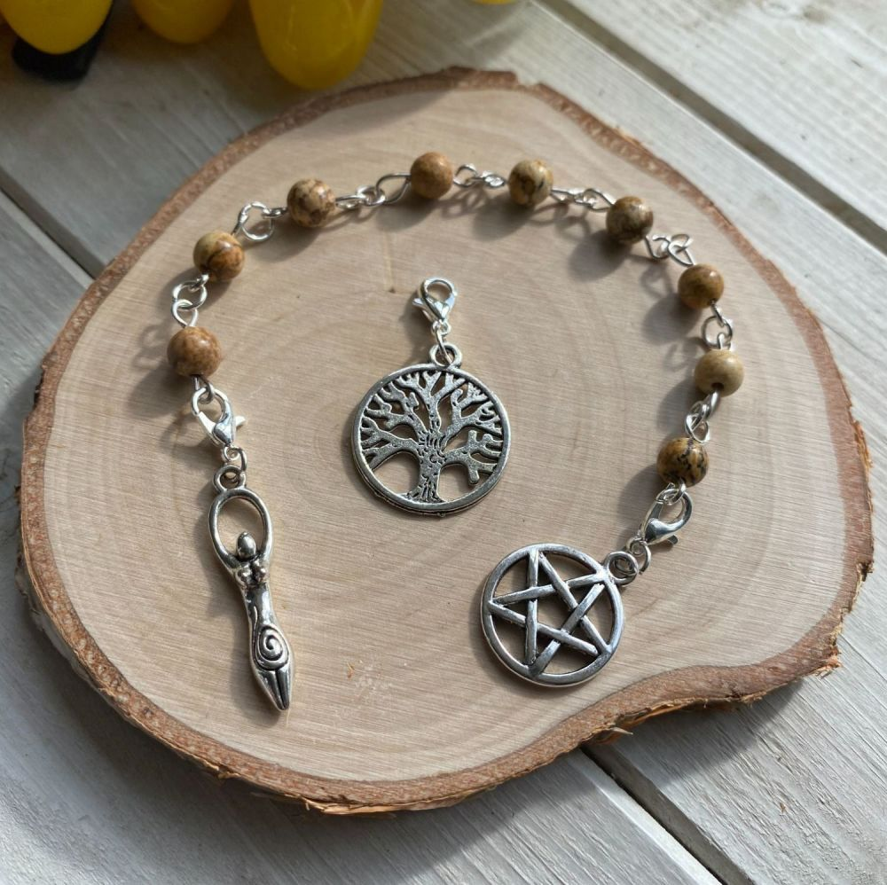 Picture Jasper Prayer Beads with Pentagram, Goddess and Tree of Life Charms