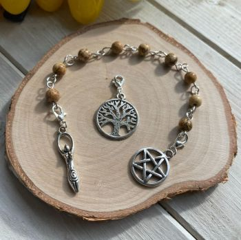 Picture Jasper Spell Beads with Pentagram, Goddess and Tree of Life Charms