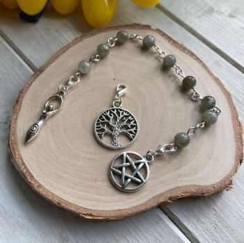 Labradorite Spell Beads with Pentagram, Goddess and Tree of Life Charms