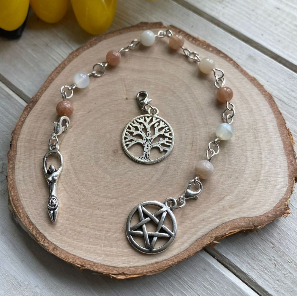 Moonstone Prayer Beads with Pentagram, Goddess and Tree of Life Charms