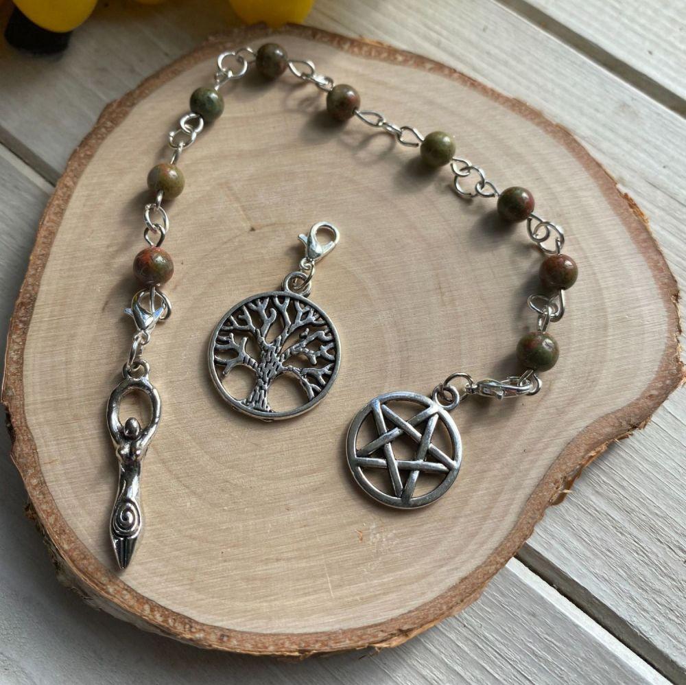 Unakite Prayer Beads with Pentagram, Goddess and Tree of Life Charms