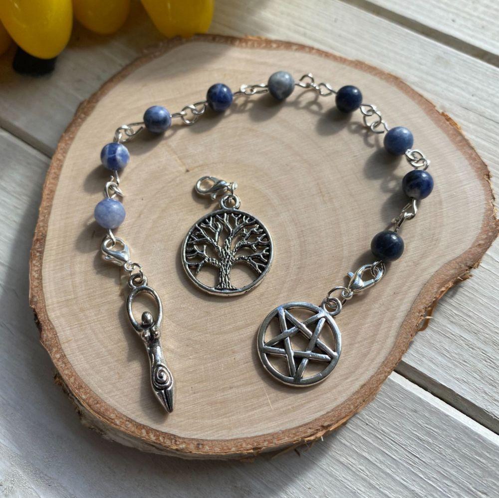 Sodalite Prayer Beads with Pentagram, Goddess and Tree of Life Charms
