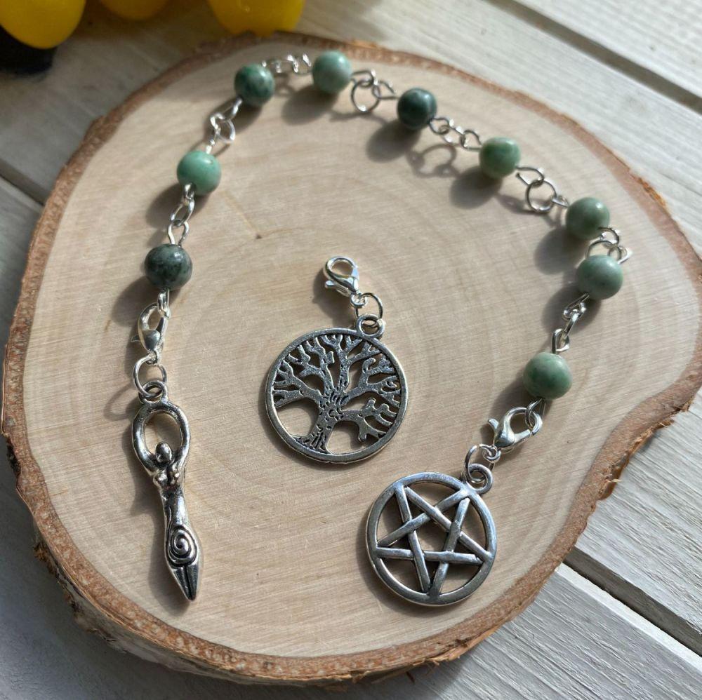 Green Jade Prayer Beads with Pentagram, Goddess and Tree of Life Charms