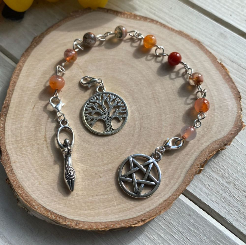 Fire Agate Spell Beads with Pentagram, Goddess and Tree of Life Charms