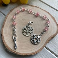 Cherry Quartz Spell Beads with Pentagram, Goddess and Tree of Life Charms