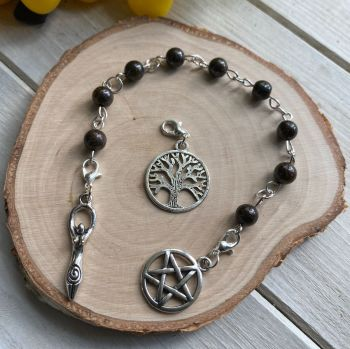 Bronzite Spell Beads with Pentagram, Goddess and Tree of Life Charms