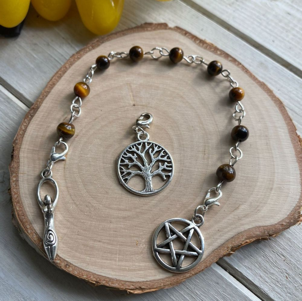 Tiger Eye (Gold) Spell Beads with Pentagram, Goddess and Tree of Life Char