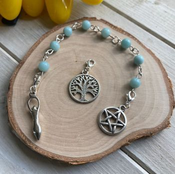 Amazonite Spell Beads with Pentagram, Goddess and Tree of Life Charms