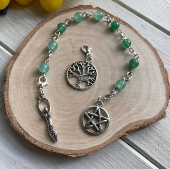 Green Aventurine Spell Beads with Pentagram, Goddess and Tree of Life Charms