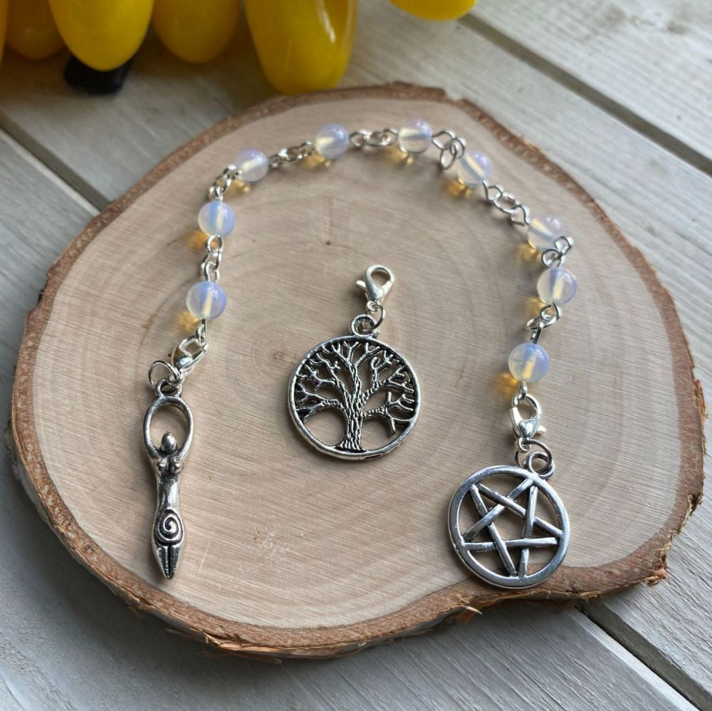 Opalite Spell Beads with Pentagram, Goddess and Tree of Life Charms