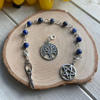 Lapis Lazuli Spell Beads with Pentagram, Goddess and Tree of Life Charms