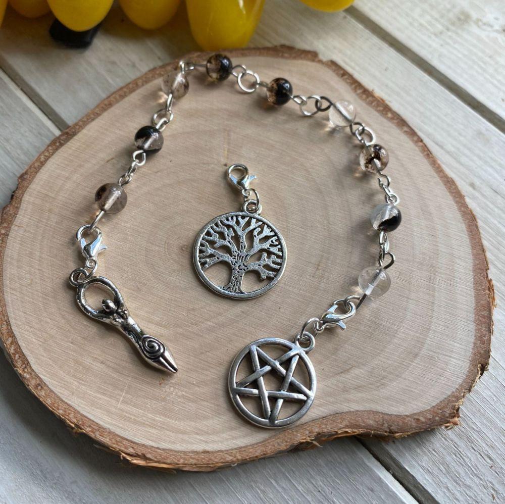 Tourmalinated Quartz Spell Beads with Pentagram, Goddess and Tree of Life C