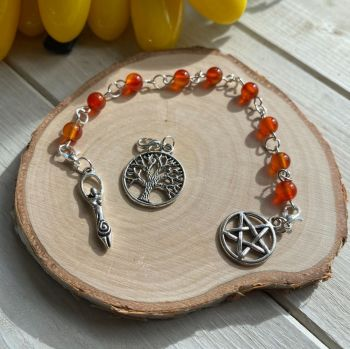 Carnelian Spell Beads with Pentagram, Goddess and Tree of Life Charms