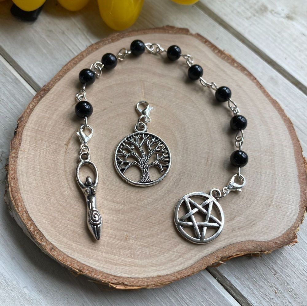 Black Tourmaline Spell Beads with Pentagram, Goddess and Tree of Life Char